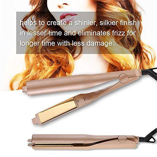 Лидер продаж Позолоченные Титан Таблички выпрямитель для волос утюги 2 в 1 Fast выпрямления волос бигуди щипцы для завивки