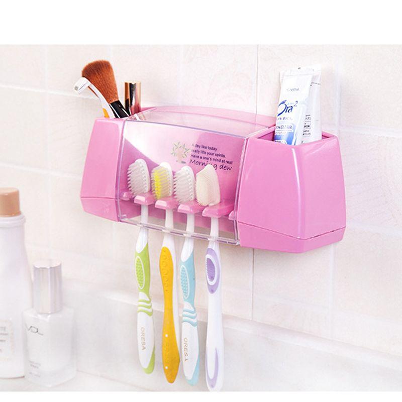 Salle de bains produit anti-Poussière Brosse À Dents Titulaire avec 2 multifonctionnel treillis pour Salle De Bains Accessoires Maquillage dentifrice 5 Racks