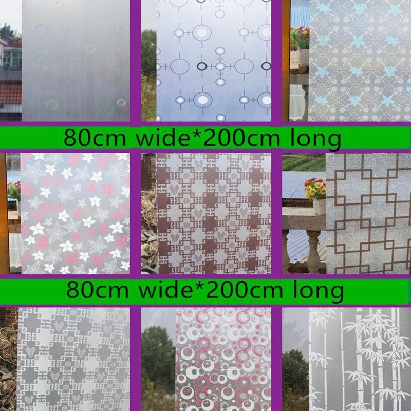 80 cm de large * 200 cm fenêtre papier verre pâte gommage autocollants toilette opaque salle de bains cellophane ombrage fenêtres film raamfolie
