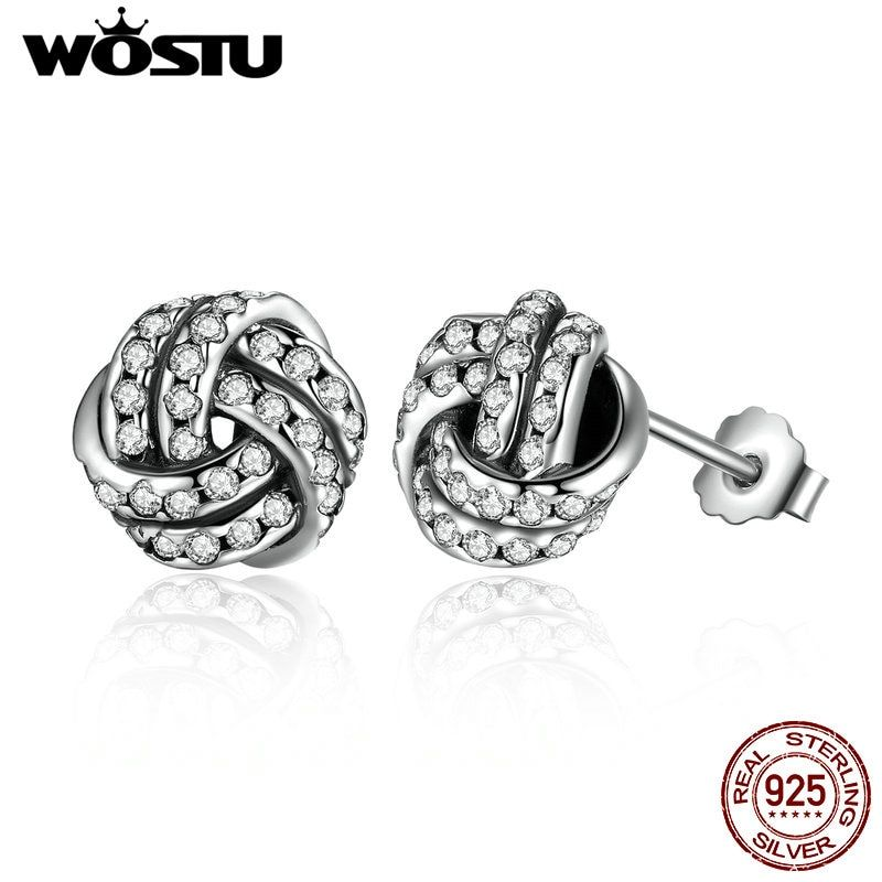 Wholesale 100% 925 Sterling Silver Sparkling Love Knots Stud Earrings For Women Jewelry Gift XCHS476
