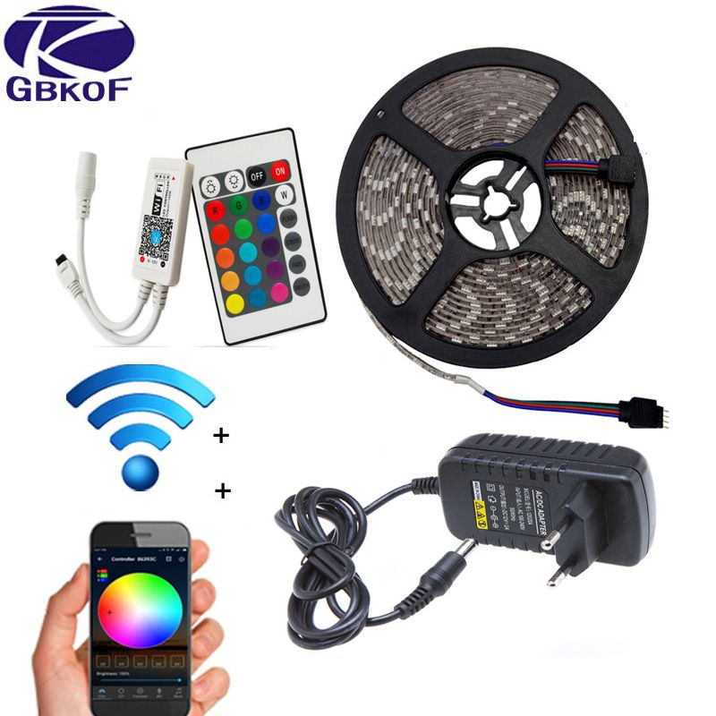 WIFI RGB LED Strip Light SMD 5050 15M 20M RGB tape DC12V Waterproof RGB ribbon diode 5M 10M led Flexible and WIFI Controller