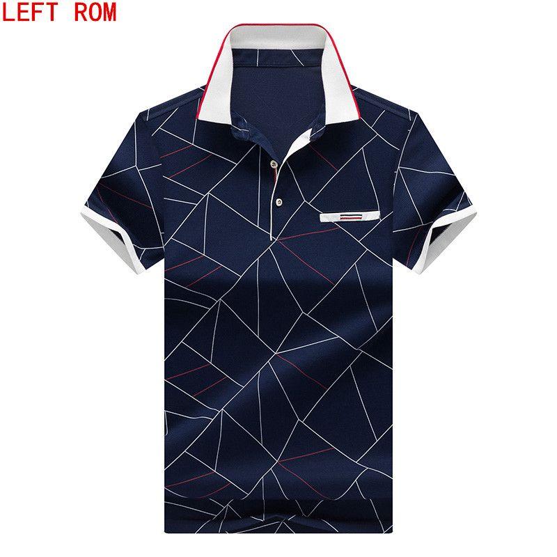 2018 Summer Short Sleeve Polo Shirt Brand Short Sleeve Geometric Print Polo High Quality Mercerized Cotton Business Polo