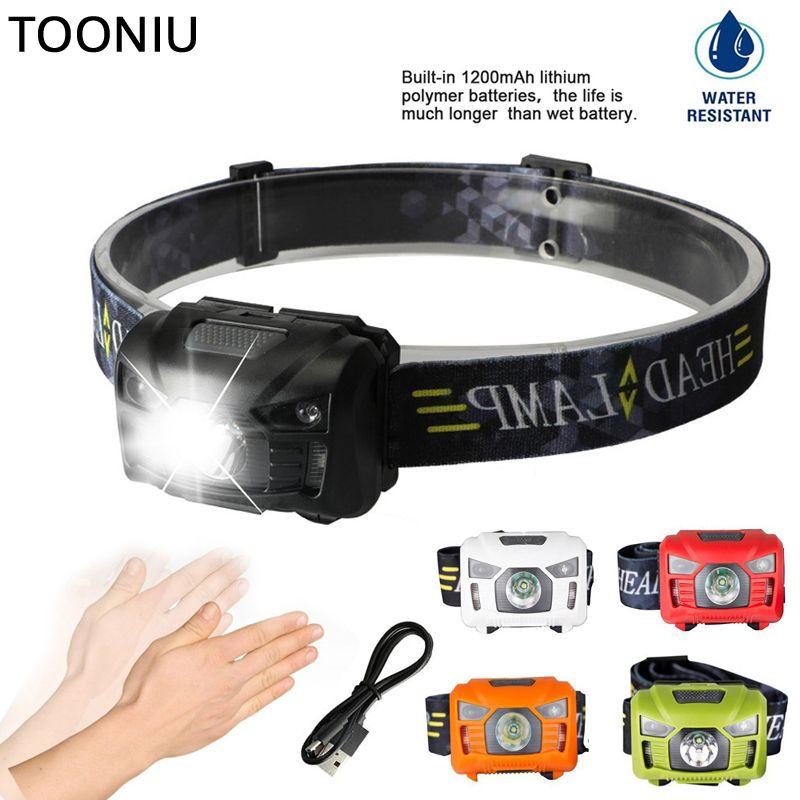 Tooniu 5W LED Body Motion Sensor Headlamp Mini Headlight Rechargeable Outdoor Camping Flashlight Head Torch Lamp With USB