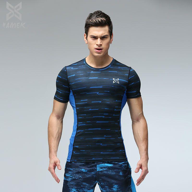 Camisa de compresión Running Top Hombres Camisas Gym Fitness Hombres Sportwear Camisas Capa Base Entrenamiento correr Camisetas 2017 Nuevo