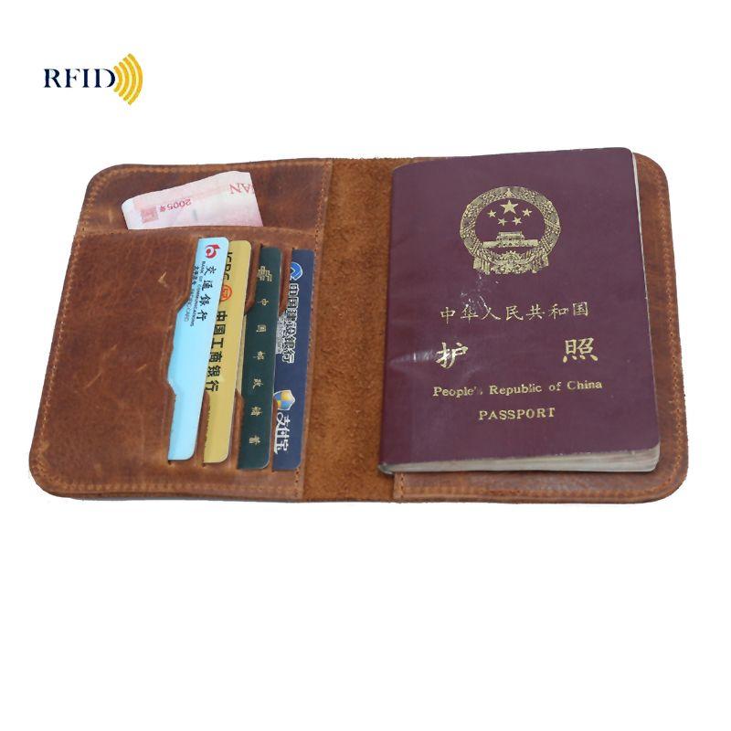 Passport Wallet RFID Блокировка верхнее зерно натуральной кожи коровы Обложка для паспорта унисекс бумажник держатель для карт дорожный кошелек
