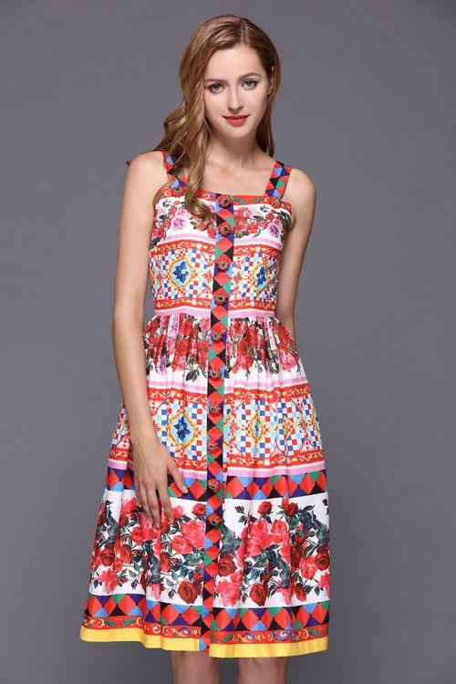 XXXXL! livraison gratuite robe 2019 printemps été Sexy fête Spaghetti sangle femmes bijoux bouton Rose fleur imprimer décontracté Club robe