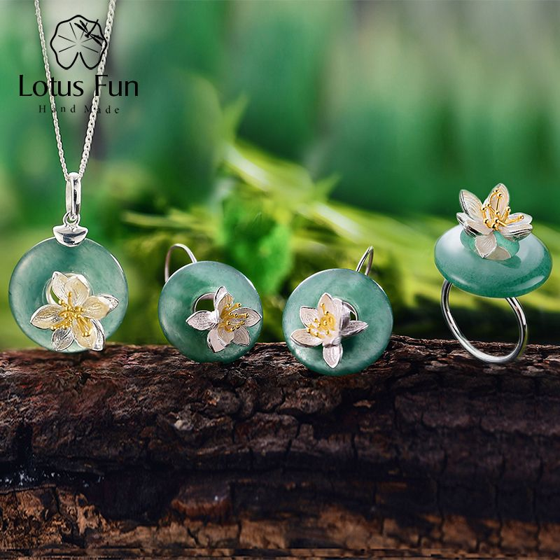Lotus Fun Real 925 Sterling Silver Handmade Fine Jewelry Lotus Whispers Jewelry Set With Ring Pendant Necklace Drop Earring