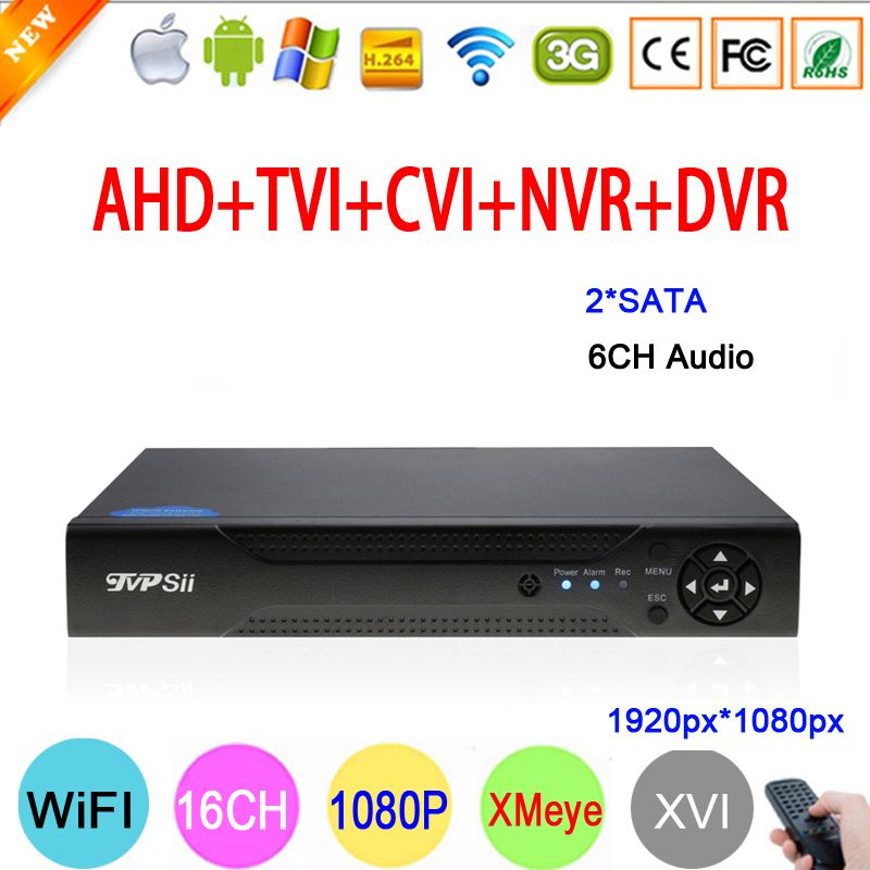 XMeye Hi3531A 1080P 2MP 16 Channel 16CH 2*SATA 6CH Audio in Coaxial Hybrid 6 in 1 NVR TVI CVI AHD CCTV DVR Free Shipping