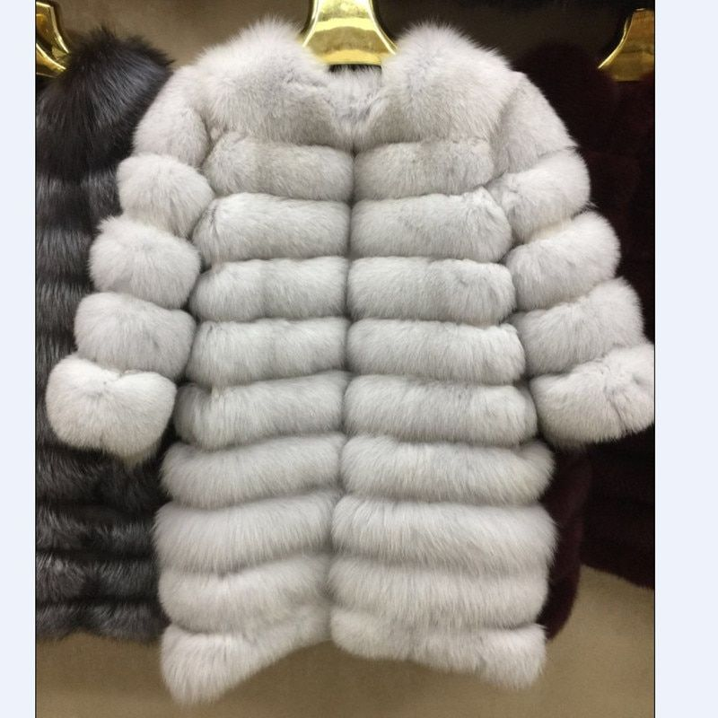 New Brand Winter Real Blue Fox Fur Coat Thick Warm Real fur Of Sables Women's Brown Long Jacket The fox fur Coat