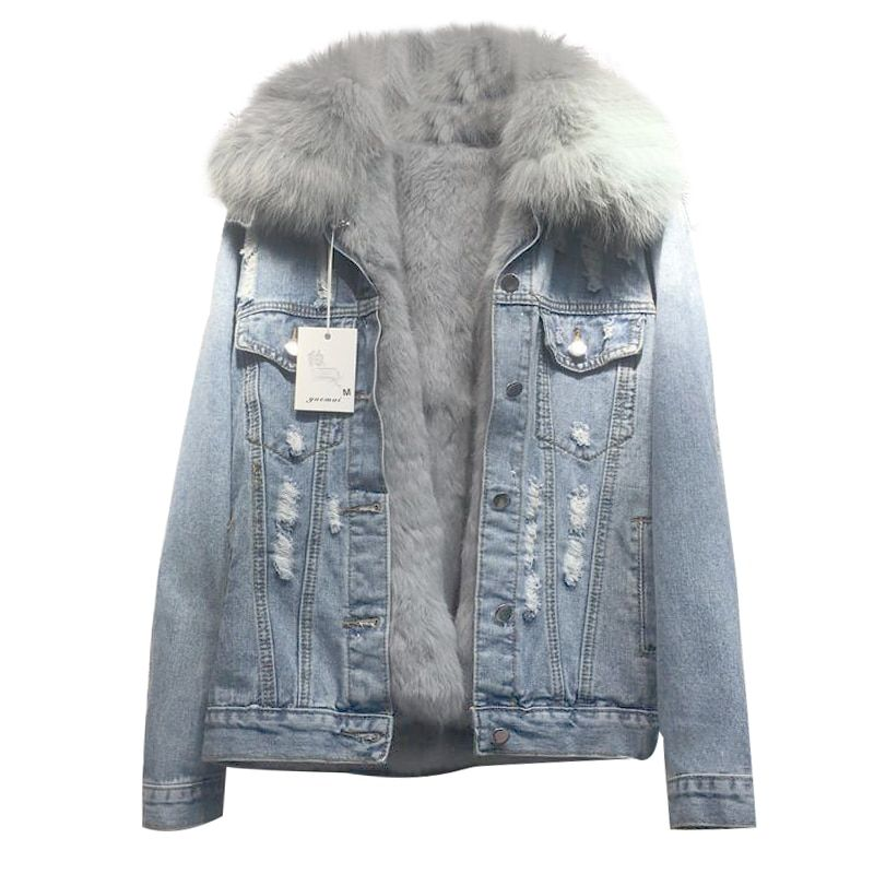 2018 new loose women's denim coat real rabbit fur line female jacket long sleeve detachable fox fur jeans jacket with fur parka