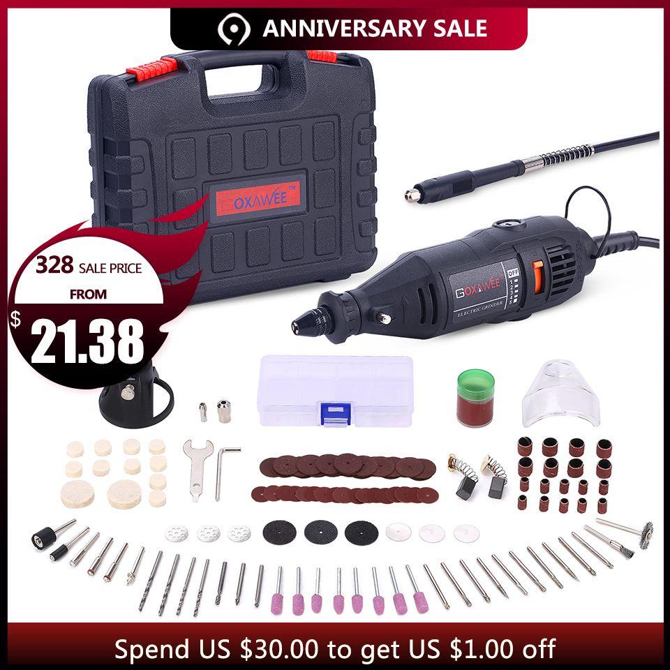 GOXAWEE 220 V outillage électrique mini perceuse avec 0.3-3.2mm Universel Chuck et Shiled outils rotatifs Kit Set Pour Dremel 3000 4000