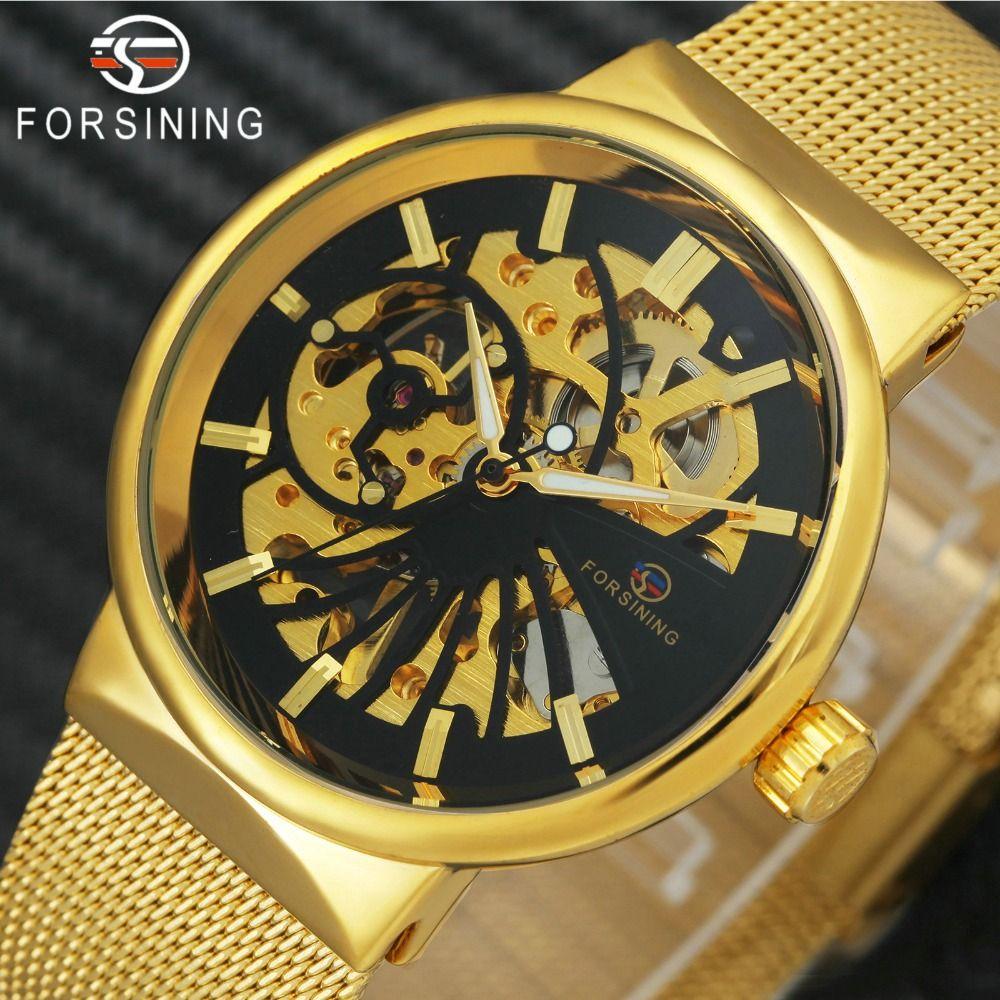 FORSINING Golden Watches for Man Ultra Thin Skeleton Mens Watches Top Brand Luxury Steel Mesh Strap Fashion Dress Wristwatch