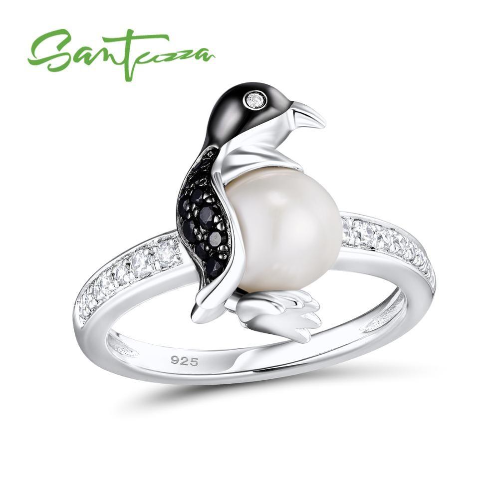 SANTUZZA Silver Penguin Pearl Ring For Women 925 Sterling Silver Trendy Fashion Rings for Women Cubic Zirconia Ringen Jewelry