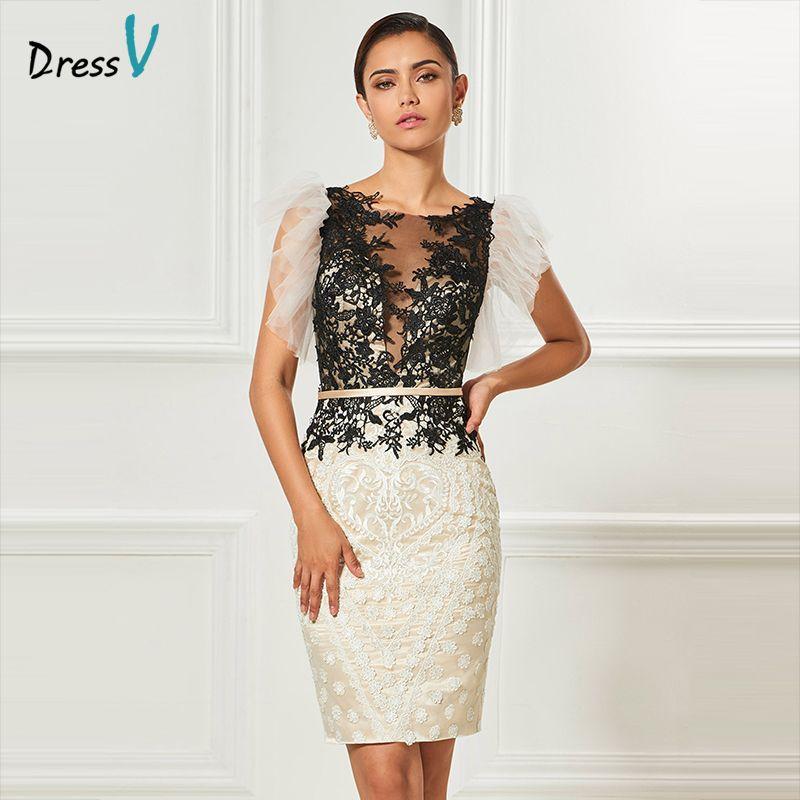 Dressv escote redondo vaina vestido de cóctel apliques sashes mangas hasta la rodilla vestido de cóctel elegante vestido de fiesta formal