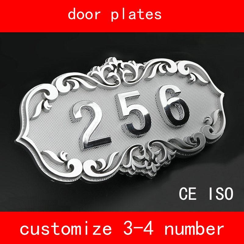 CE ISO Número de Casa estilo retro Brone Como La Puerta Número 3 a 4 Números Personalizar Placa de La Puerta de Hotel de Apartamentos