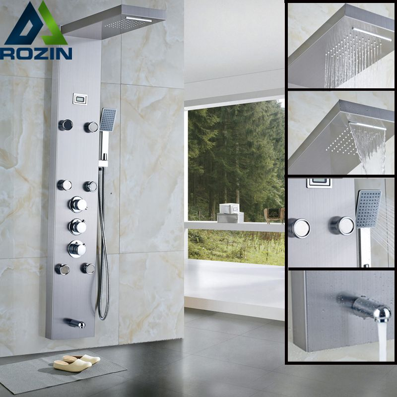 Thermostatic Rainfall Shower Panel Faucet Body Massage System Stainless Steel Shower Column Tap Digital Temperature Screen