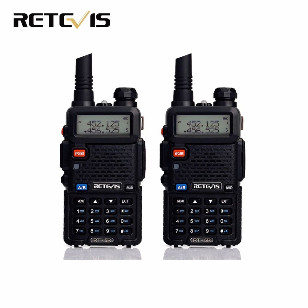 2pcs Walkie Talkie Retevis RT-5R RT5R 5W 128CH VOX Scan UHF VHF Dual Band Ham Radio Hf Transceiver Portable