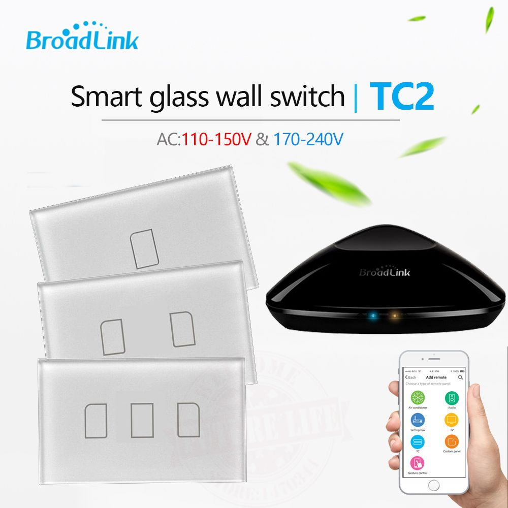 2017 <font><b>Broadlink</b></font> TC2 US/AU Standard Smart Home RF Touch Light Switches 123Gang 110V 220V Remote Control Wall Touch Switch Panel
