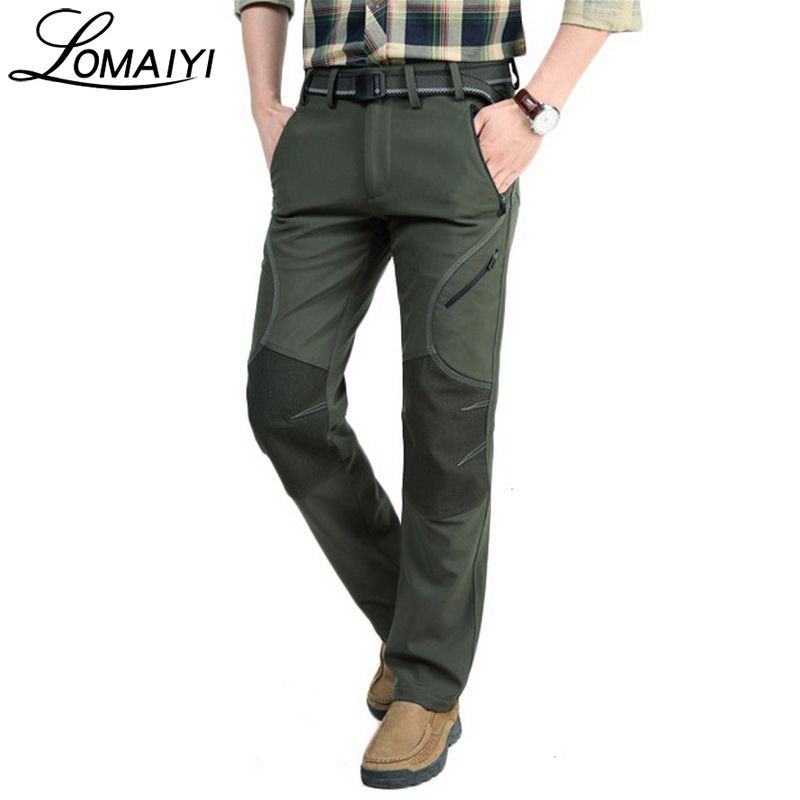 LOMAIYI 2018 Winter Warm Casual Pants Men Black Thick Fleece Trousers Male Army Military Style Softshell Waterproof Pants,AM093