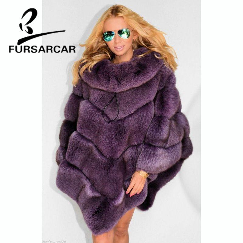 FURSARCAR Echt Fuchs Pelz Schals Frauen Mode Fuchs Pelz Weibliche Cape 2018 Neue Winter Luxus Stil Dicken Umhang Mit Pelz kragen