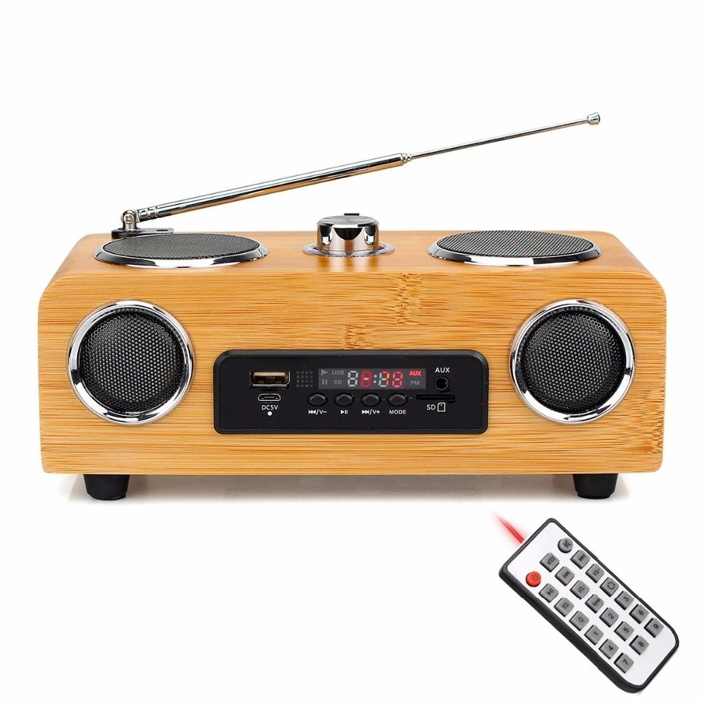 Home Tabletop Radio FM Stereo Handmade Bamboo Multimedia Speaker Classical Receiver USB With MP3 Player Remote Control Y4113O