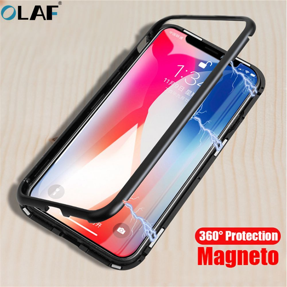 OLAF Magneto Magnetic Adsorption metal case for iphone X iphone 6s case luxury tempered glass cover for iphone 6 7 8 Plus coque