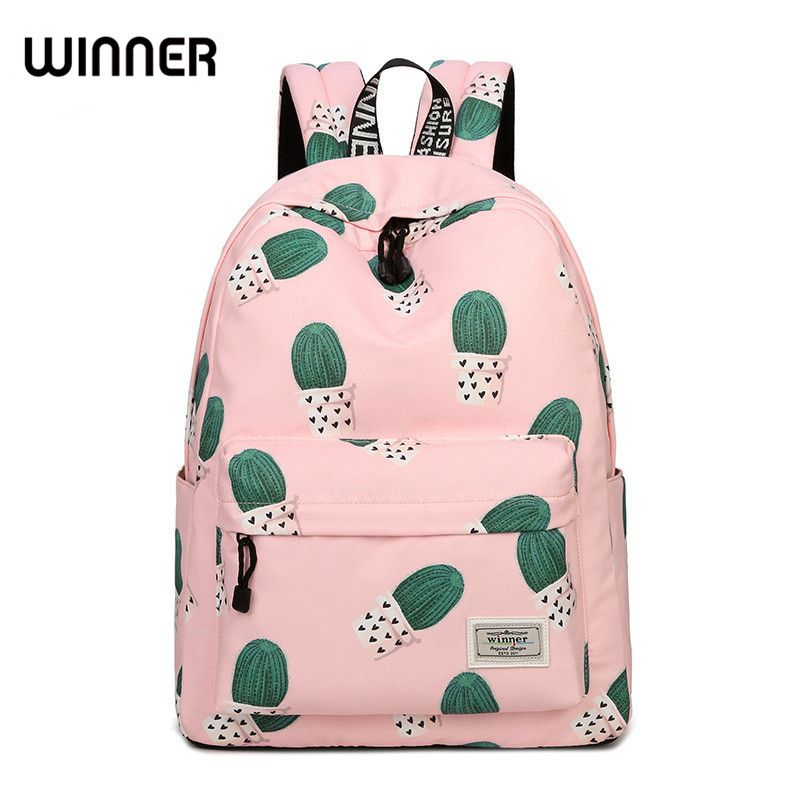 Fresh Waterproof Polyester Women Backpack Cactus School Bag Cute <font><b>Fairy</b></font> Ball Plant Pattern Printing Girls School Bags Knapsack