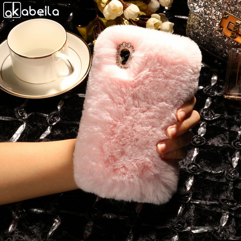 AKABEILA Silicone Phone Case Cover For Sony Xperia E5 F3311 F3313 5.0 inch Case Rabbit Fur Hair TPU Diamond Back Cover Bags