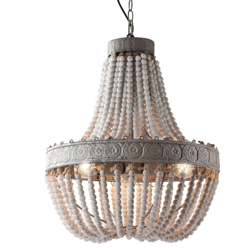 Style campagnard américain rétro suspendus Lime blanc perles en bois suspension lampe LED E27 AC 110 V 220 V pour chambre salon