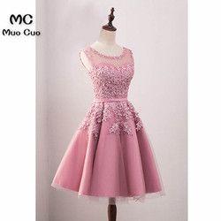 2018 Sebuah Line Homecoming Gaun dengan Mutiara Appliques Sheer Lace Party Dresses Cocktail Dresses Blush Pink Graduation Dresses
