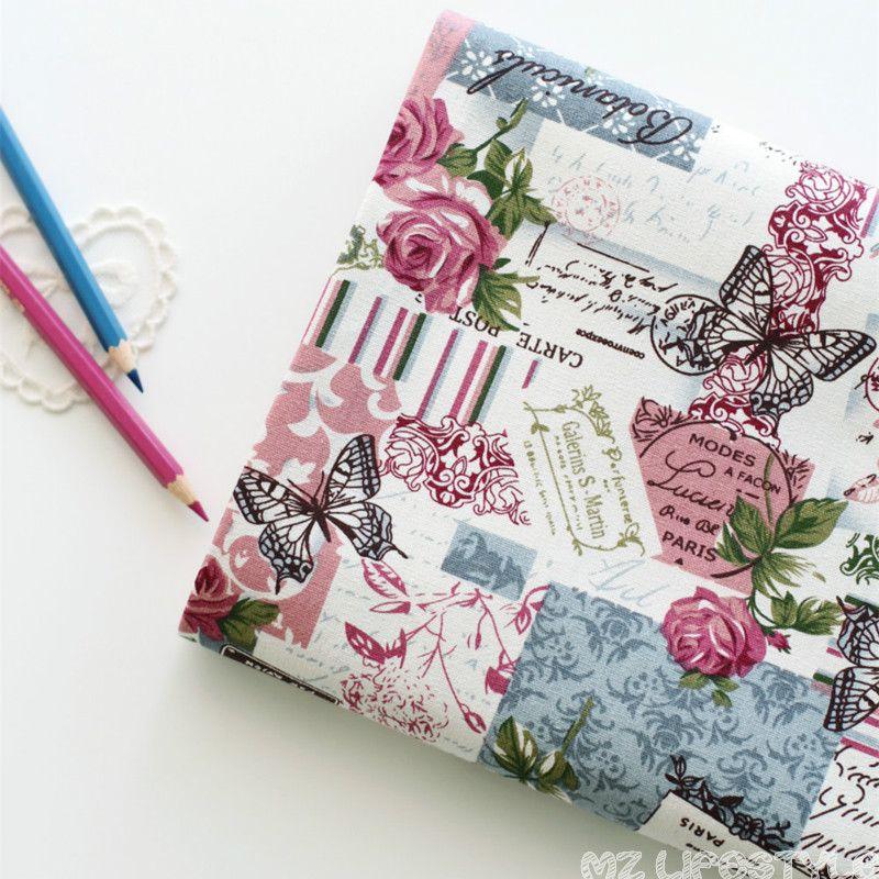 Buulqo цветочный Рисунок и бабочка из хлопка и льна Ткань на метр Ретро Винтаж швейных ремесел хлопок Ткань 100*155 см
