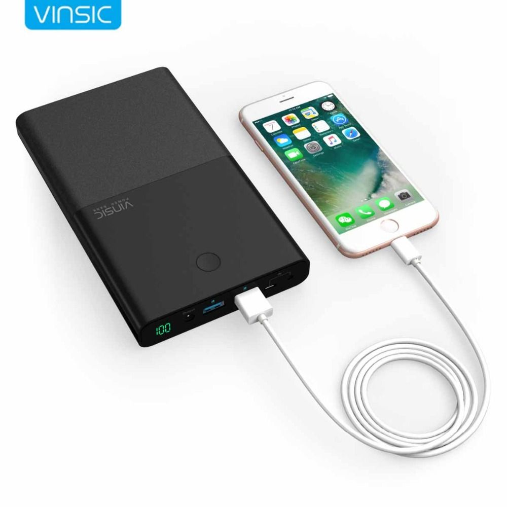 Vinsic 30000mAh Notebook Power Bank DC 4.5A 19V Dual USB External Battery Charger for Laptop Notebooks Tablets iPhone X 8 8 Plus