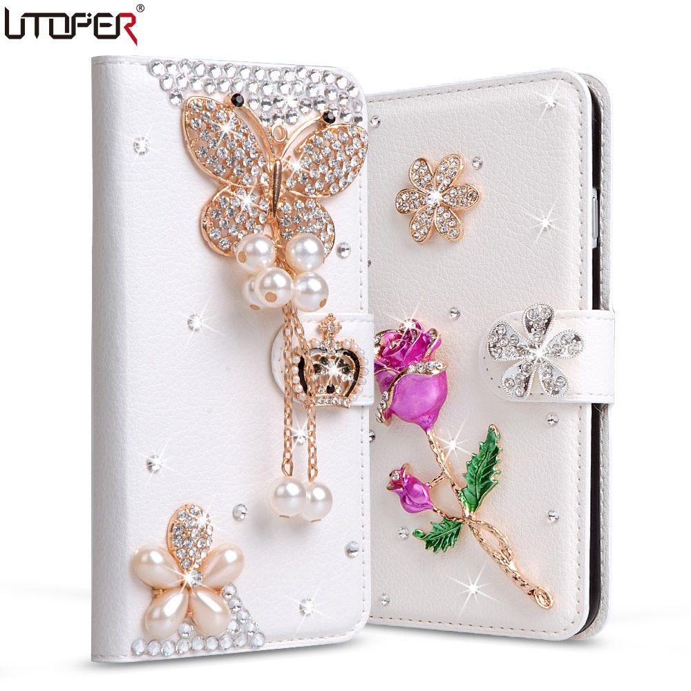 Coque Pour Galaxy Grand-Premier Cas PU En Cuir Diamant Cas Pour Samsung Galaxy S3 S4 S5 S6 S7 Gagner i8552 Strass Couverture Téléphone Sac