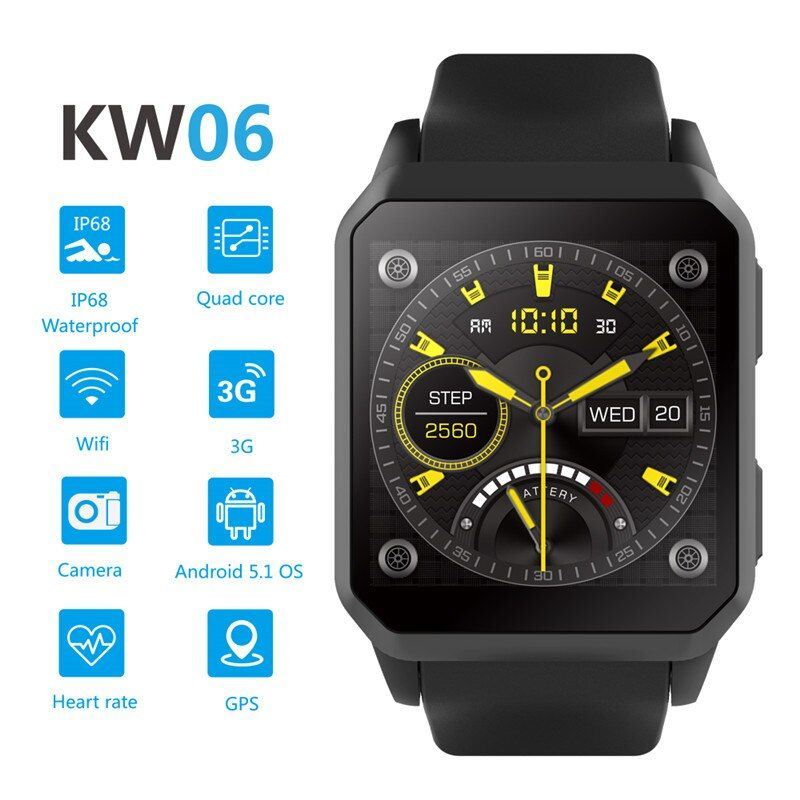 3G Android Smart Watch Kingwear KW06 PK kw88 Wristwatch support SIM MTK6580 Quad Core SmartWatch Pedometer Heart Rate Wifi GPS