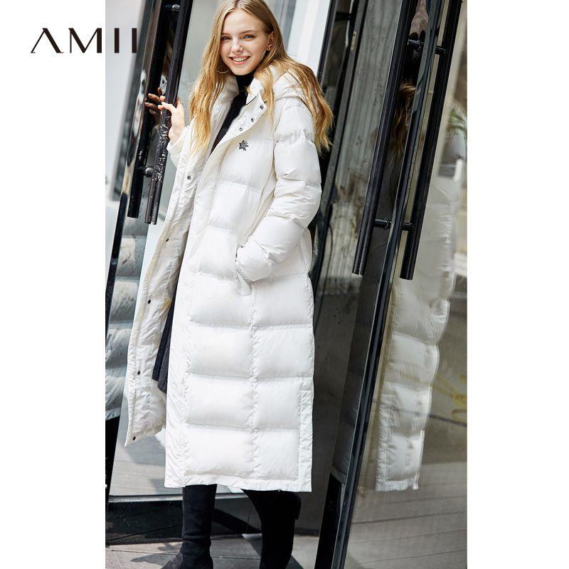 Amii Minimalistische Mode 90% Weiße Ente Unten Jacke Winter Frauen Stickerei Floral 2018 Casual Neue Loosehooded Schwarz Lange Mantel