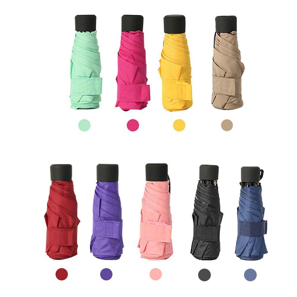 9 couleurs mini parapluie de poche Femmes UV Petit Parapluies Parasol Filles Anti-UV Étanche Portable Ultra-Léger Voyage livraison directe