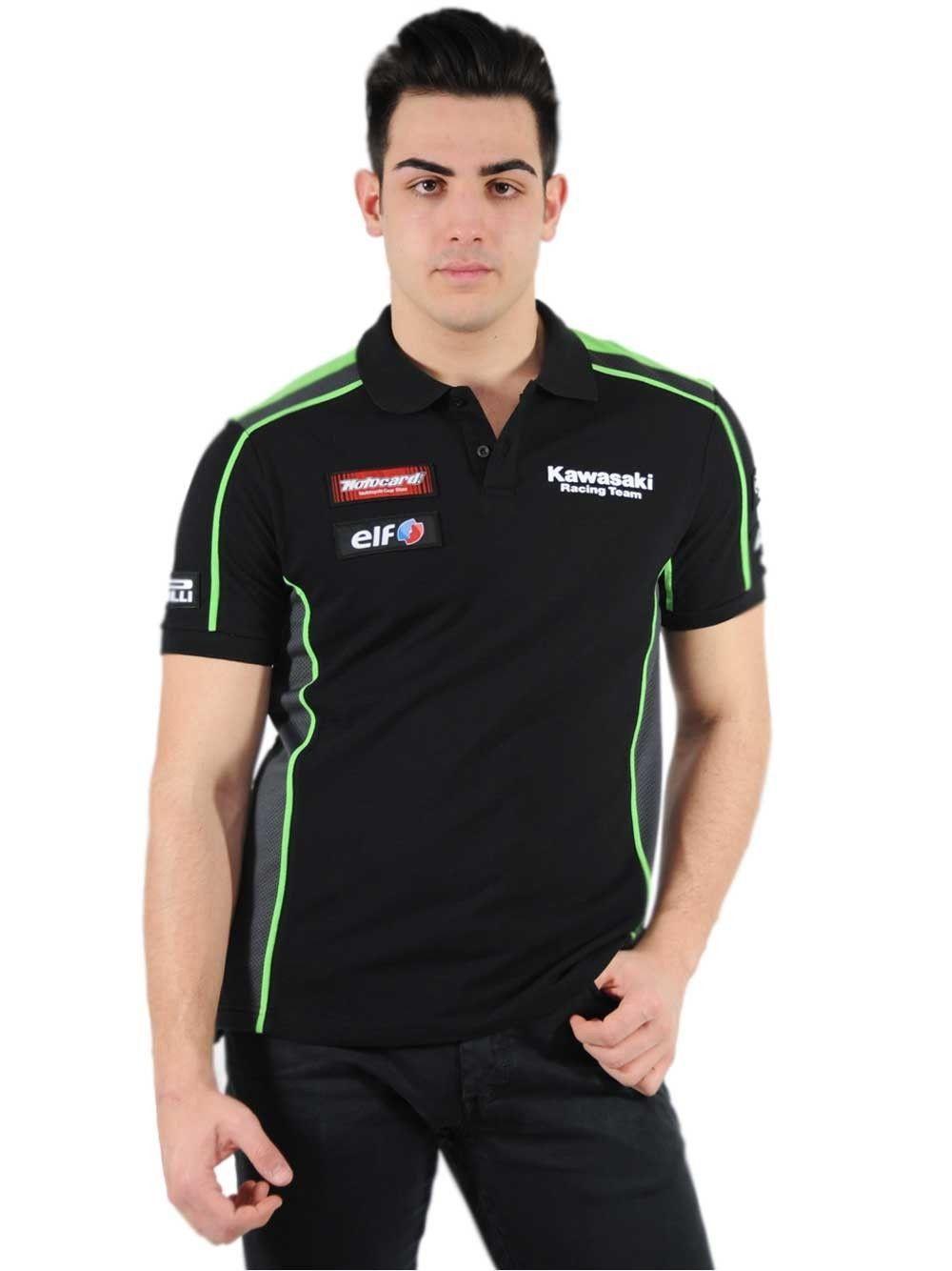 Free shipping 2016 100% Cotton Kawasaki MOTO-GP Race POLO T-shirt Black/Green Moto GP Polo Shirt