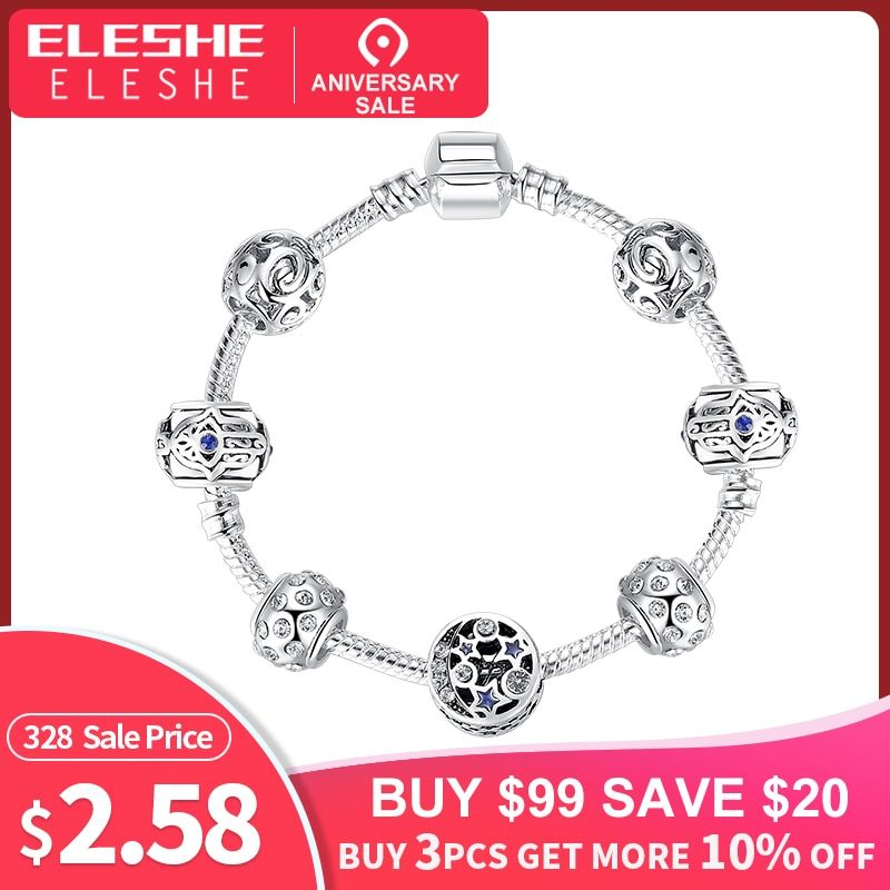 ELESHE Silver Charm Bracelet & Bangle with Blue Turkish Lucky Eye Star Charm Bracelets Women Handmade Fatima Friendship Jewelry