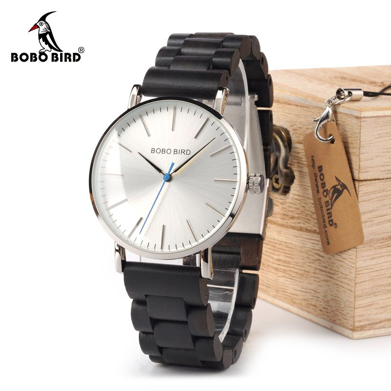 BOBO BIRD WO15O16 Wood Watch Ebony RedWood Wooden Band Watches for Men Simplify Quartz Watch with Tool for Adjusting Size