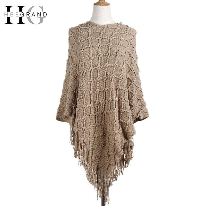 HEE GRAND 2017 New Fashion Women Loose Sweater Casual Vintage Single Tassel Winter Autumn Swing Shawl  Female Crochet WPM062