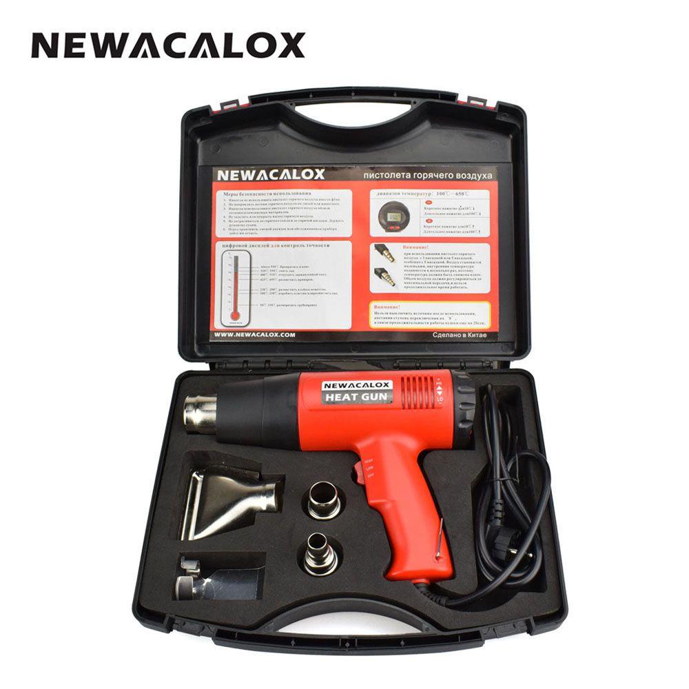 NEWACALOX 2000W 220V EU prise industrielle électrique pistolet à chaleur thermorégulateur LCD affichage pistolet à Air chaud rétractable emballage thermique chauffage