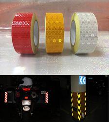 25mm x 10 m jaune/rouge/blanc bande Réfléchissante autocollants de voiture-style Auto-Adhésif Avertissement Bande
