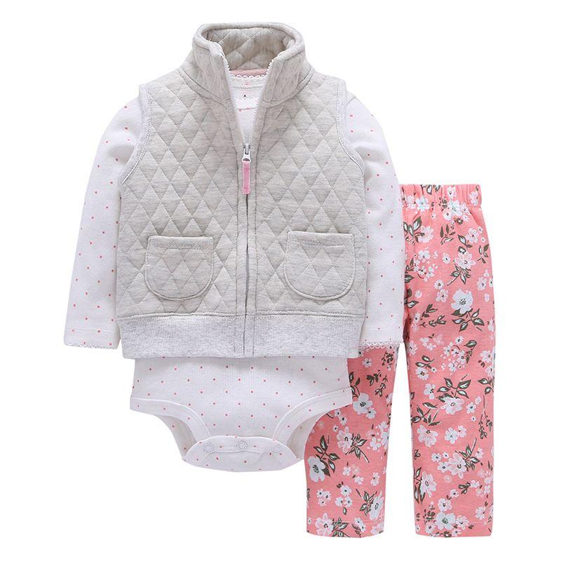 2019 offre spéciale vêtements printemps automne à capuche 2019new coton garçon fille 3 pièces/ensemble bébé vêtements ensemble avec fermeture à glissière nouveau-né costume