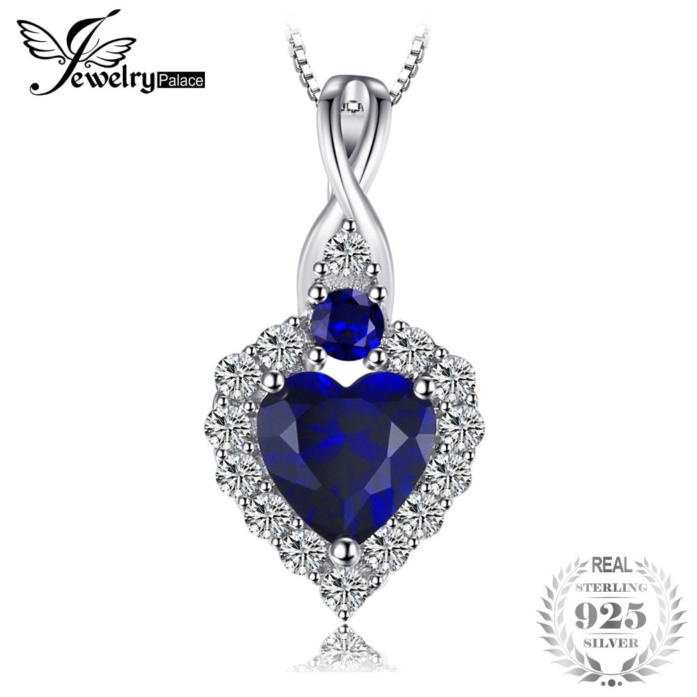 JewelryPalace Classical Heart-Shape 0.9ct Created Sapphire Pendant Necklace 925 Sterling Silver 45cm Box Chain Wedding Jewelry