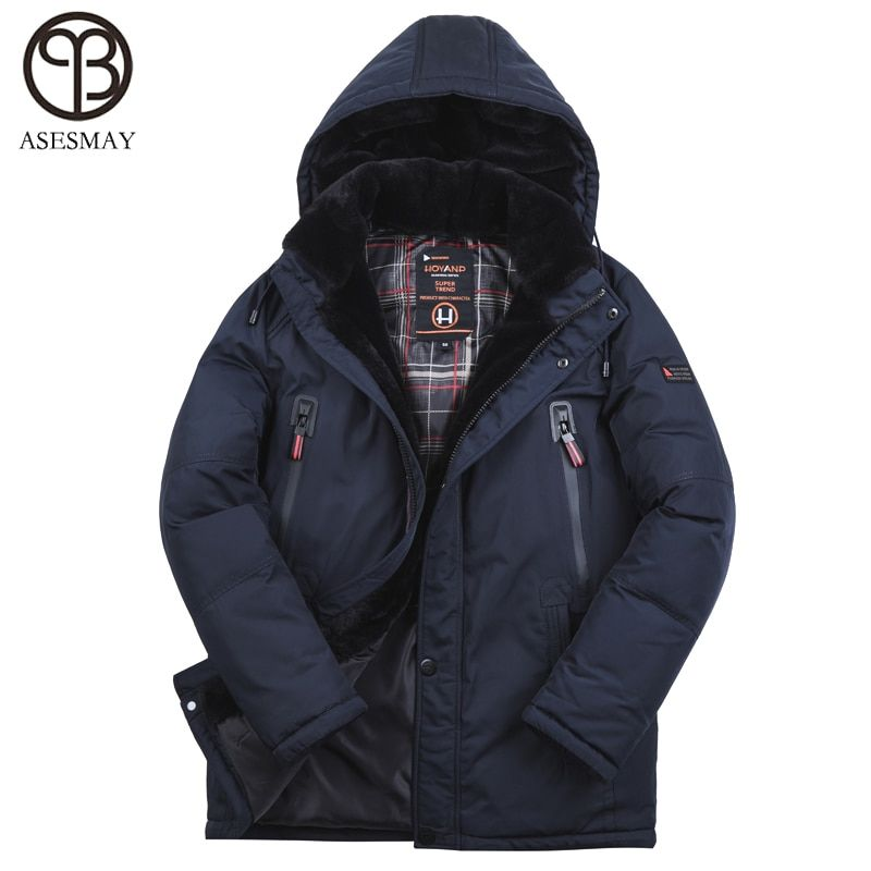 Asesmay New Arrival 2018 Men Winter Jacket Padded Coat Very Thick Warm Mens Winter Parka Detachable Fur Degree -40 European size