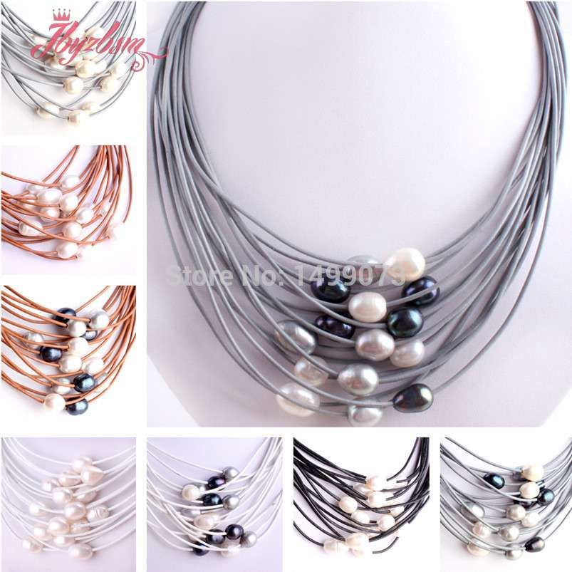 Perles de pierre d'eau douce ovales naturelles 10-12mm travail manuel 15 rangées de cuir pour femmes collier de mode bijoux aimant Clasp16