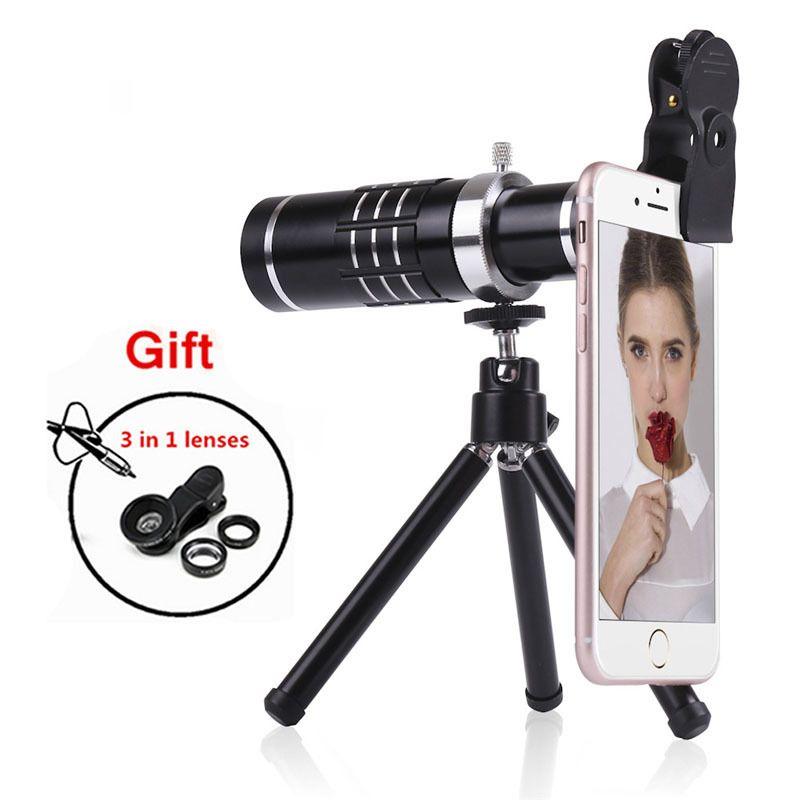 Téléphone caméra lentilles Kit 18X Téléobjectif Zoom Télescope Pour l'iphone 5 6 6 s 7 8 Plus Smartphone Fish eye Grand Angle Macro lentes