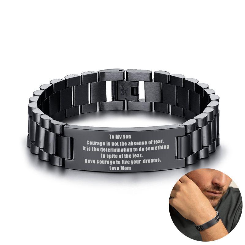 To My Son Courage Is Not The Basence Love Mom Men Bracelet Stainless Steel Brackelts Brazalet Braslet Armband Jewelry Gift