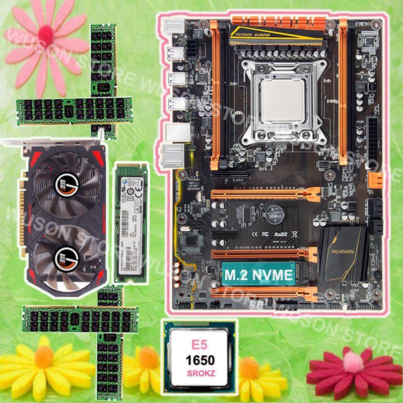 Mobo with M.2 slot HUANAN ZHI X79 motherboard 128G NVME SSD Intel Xeon E5 1650 3.2GHz video card GTX750TI 2G RAM 4*8G 1600 RECC
