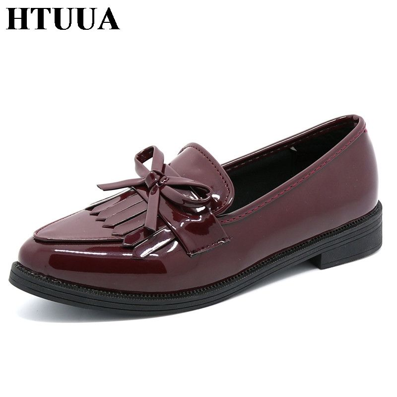 HTUUA Brand Shoes Woman Casual Tassel Bow Pointed Toe Black Oxford Shoes for Women Flats Comfortable Slip on Women Shoes SX431